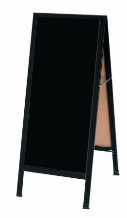 "Aarco Products  BA-3B Black Aluminum A-Frame Sidewalk Board with Black Chalkboard, 42""H x 18""W"