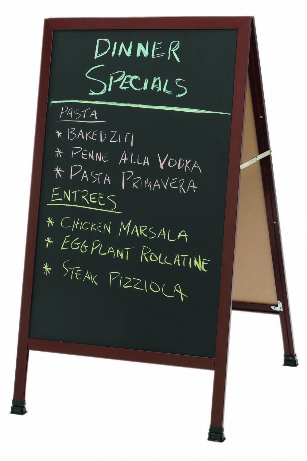 "Aarco Products 1-WA-1B A-Frame Sidewalk Black Chalkboard with Cherry Wood-Look Aluminum Frame, 42""H x 24""W"