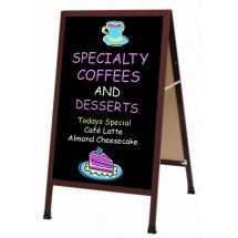 "Aarco Products 1-WA-1BP Cherry Wood-Look A-Frame Sign Board with Black Acrylic Chalkboard, 42""H x 24""W"