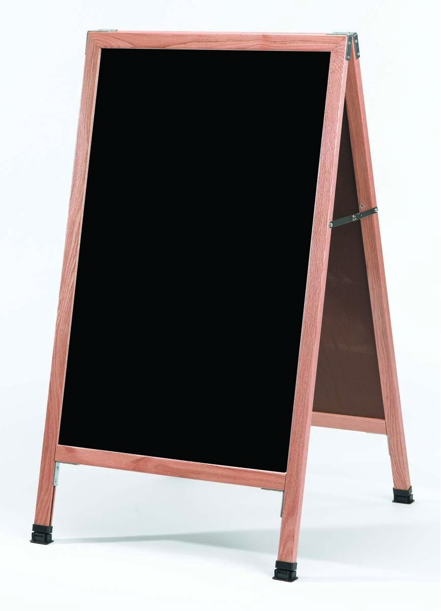 "Aarco Products A-11 A-Frame Sidewalk Black Melamine Markerboard with Solid Red Oak Frame, 42""H x 24""W"