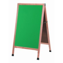 "Aarco Products A-1G Oak A-Frame Sidewalk Board with Green Chalkboard, 42""H x 24""W"
