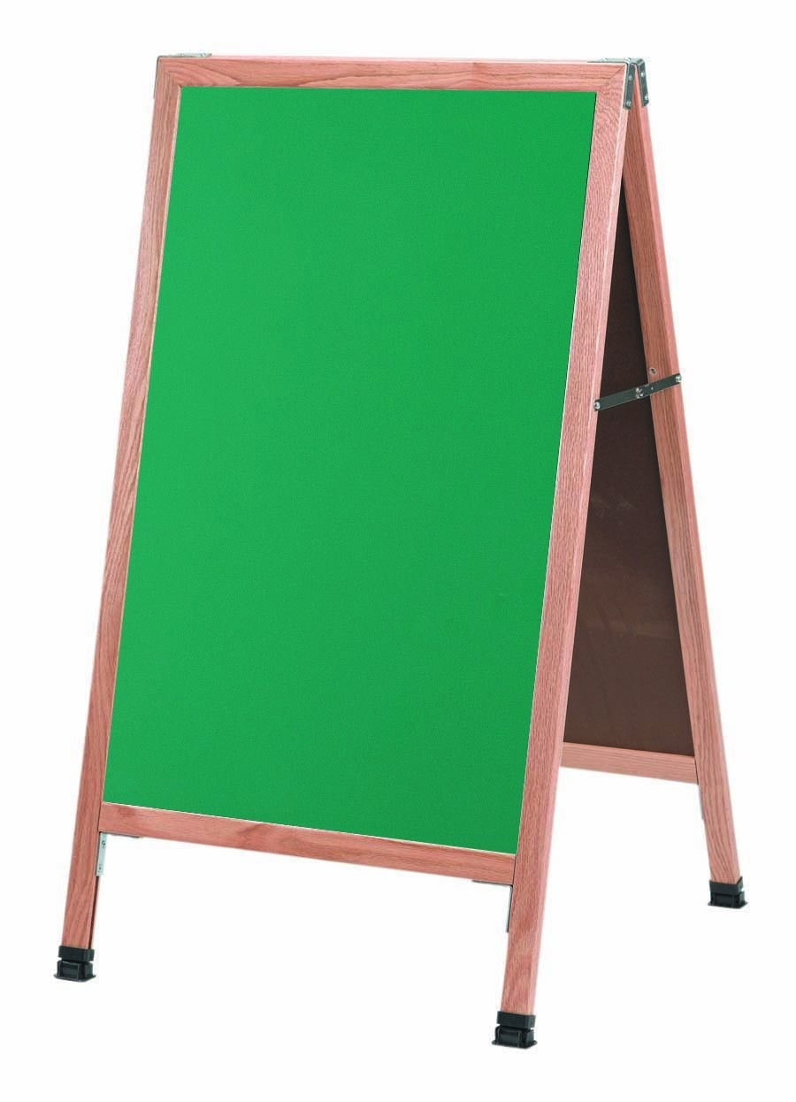 "Aarco Products A-1G A-Frame Green Composition Sidewalk Chalkboard with Solid Red Oak Frame, 42""H x 24""W"