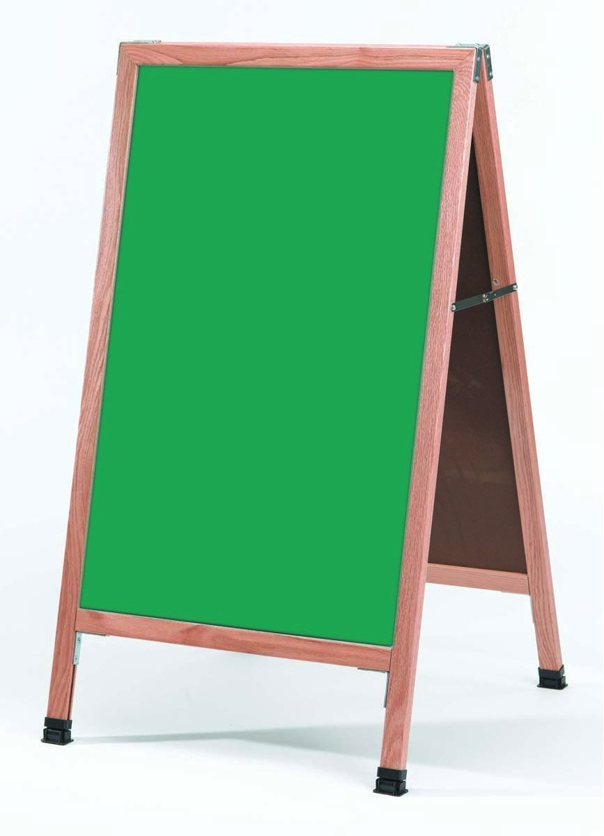 "Aarco Products A-1SG A-Frame Green Porcelain Sidewalk Chalkboard with Solid Red Oak Frame, 42""H x 24""W"