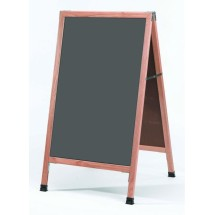 "Aarco Products A-1SS   Oak A-Frame Sidewalk Board with Slate Gray Porcelain Chalkboard, 42""H x 24""W"
