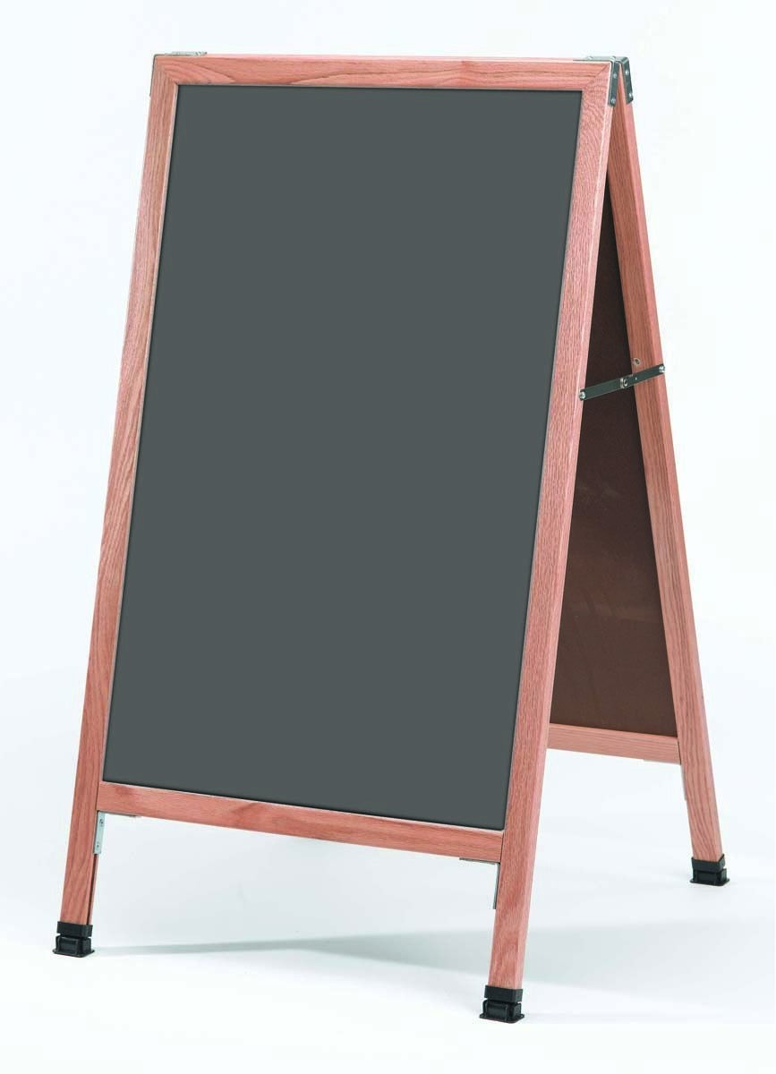 "Aarco Products A-1SS A-Frame Slate Porcelain Sidewalk Chalkboard with Solid Red Oak Frame, 42""H x 24""W"