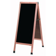 "Aarco Products A-311 A-Frame Sidewalk Black Melamine Markerboard with Solid Red Oak Frame, 42""H x 18""W"