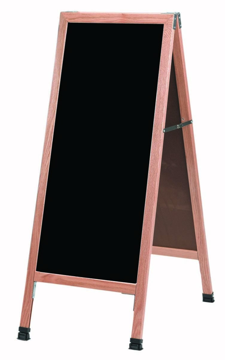 "Aarco Products A-311 Oak A-Frame Sidewalk Board with Black Markerboard, 42""H x 18""W"