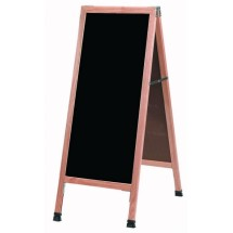 "Aarco Products A-3B Oak A-Frame Sidewalk Board with Black Chalkboard, 42""H x 18""W"