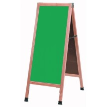 "Aarco Products A-3G A-Frame Green Composition Sidewalk Chalkboard with Solid Red Oak Frame, 42""H x 18""W"