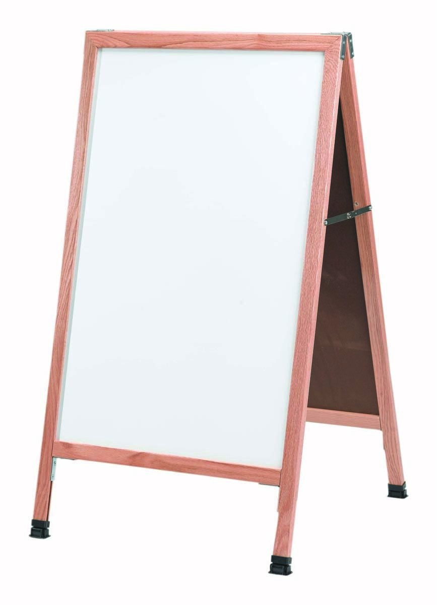 "Aarco Products A-5 A-Frame Sidewalk White Melamine Markerboard with Solid Red Oak Frame, 42""H x 24""W"