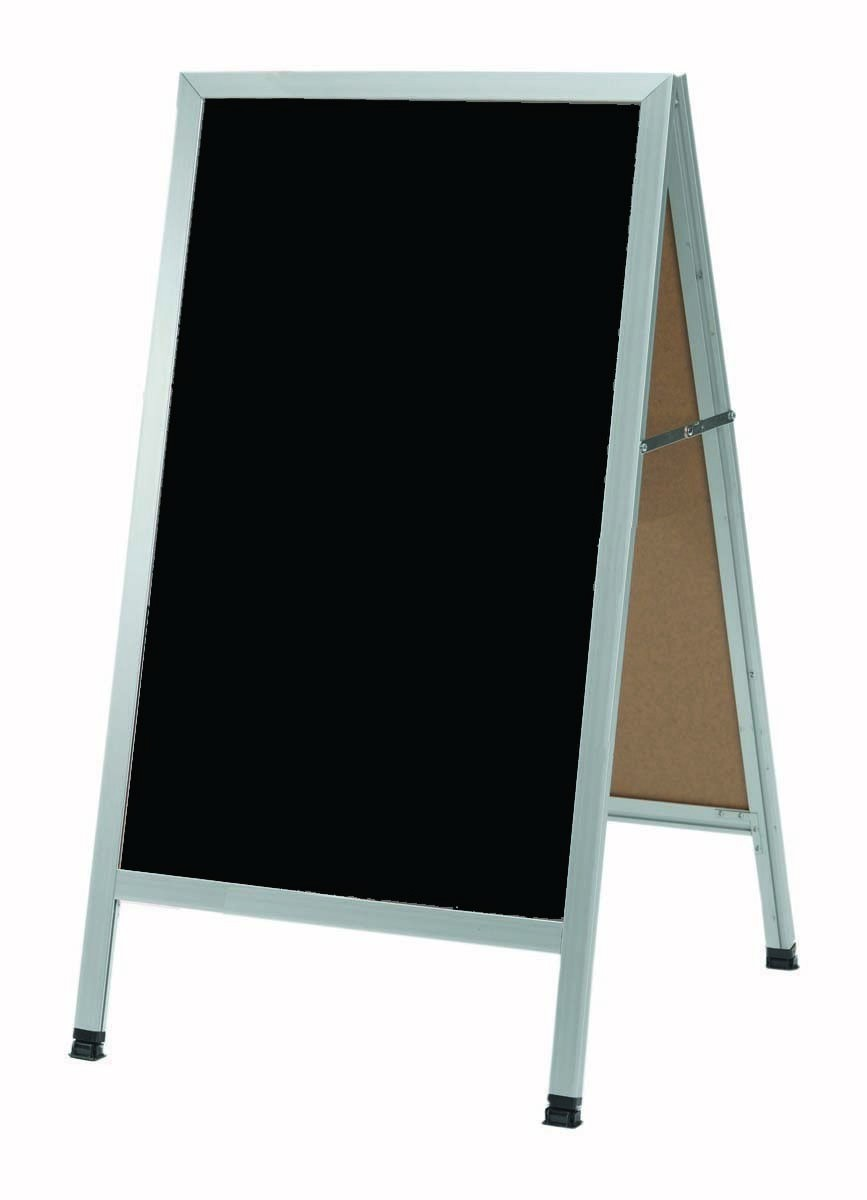 "Aarco Products AA-1B A-Frame Black Composition Sidewalk Chalkboard with Aluminum Frame, 42""H x 24""W"