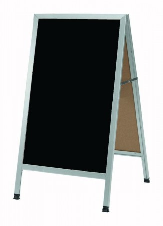"Aarco Products AA-1B Aluminum A-Frame Sign Board with Black Write On Chalkboard,  42""H x 24""W"