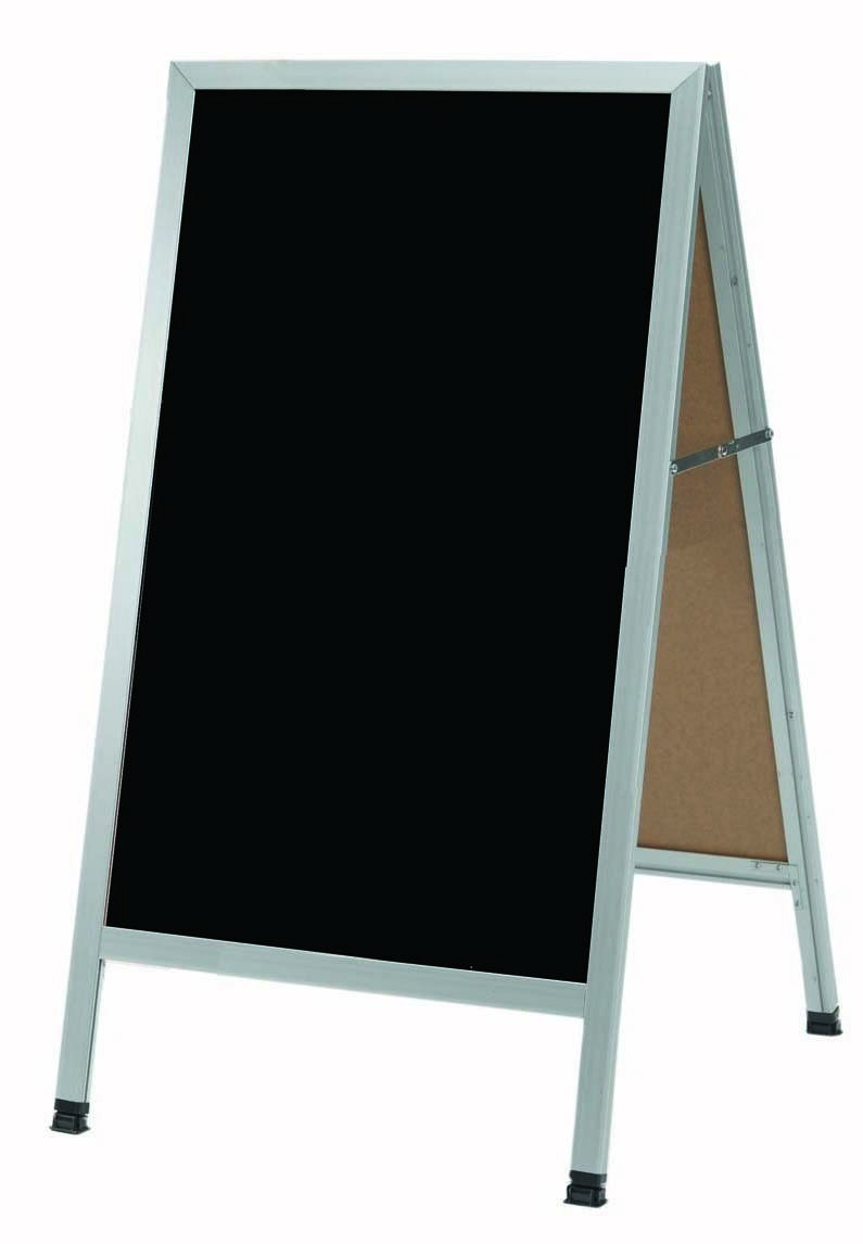 "Aarco Products AA-1BP A-Frame Sidewalk Black Acrylic Board with Aluminum Frame, 42""H x 24""W"