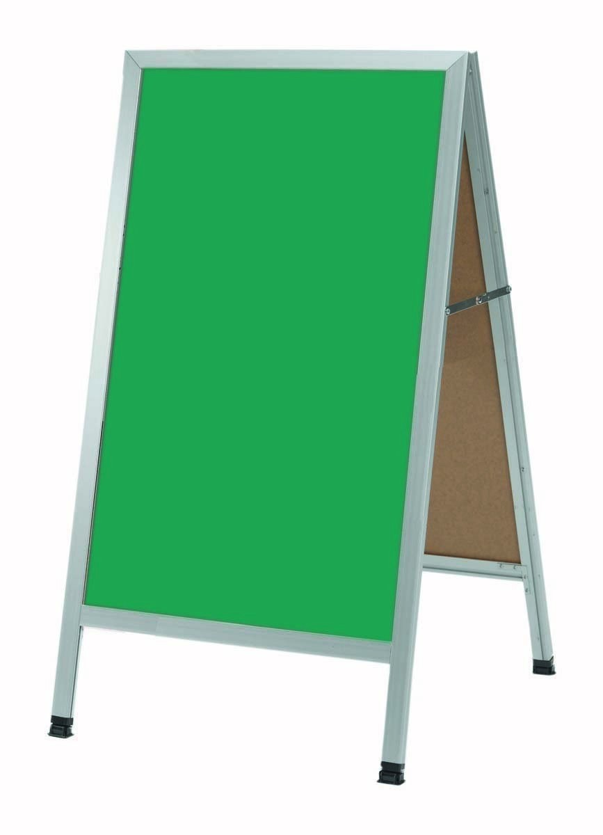 "Aarco Products AA-1SG A-Frame Green Porcelain Sidewalk Chalkboard with Aluminum Frame, 42""H x 24""W"