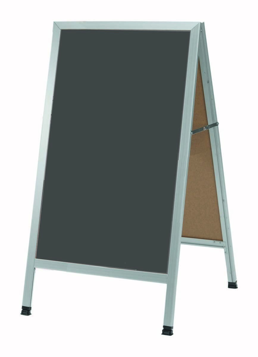 Aarco Products AA-1SS A-Frame Slate Porcelain Sidewalk Chalkboard with Aluminum Frame, 42''H x 24''W