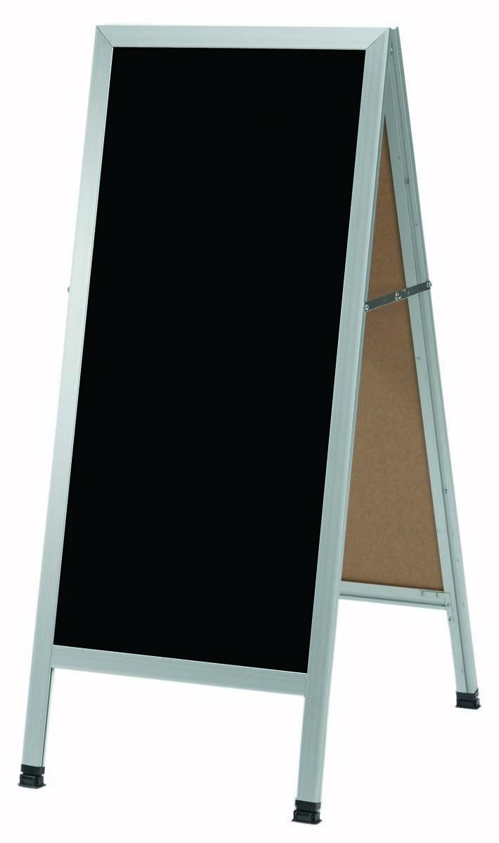 "Aarco Products AA-311SB Aluminum Narrow A-Frame Sidewalk Board with Black Porcelain Markerboard, 42""H x 18""W"