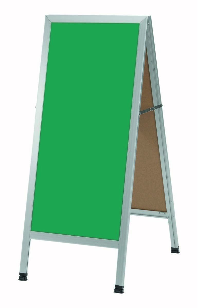 "Aarco Products AA-311SG A-Frame Green Porcelain Sidewalk Chalkboard with Aluminum Frame , 42""H x 18""W"