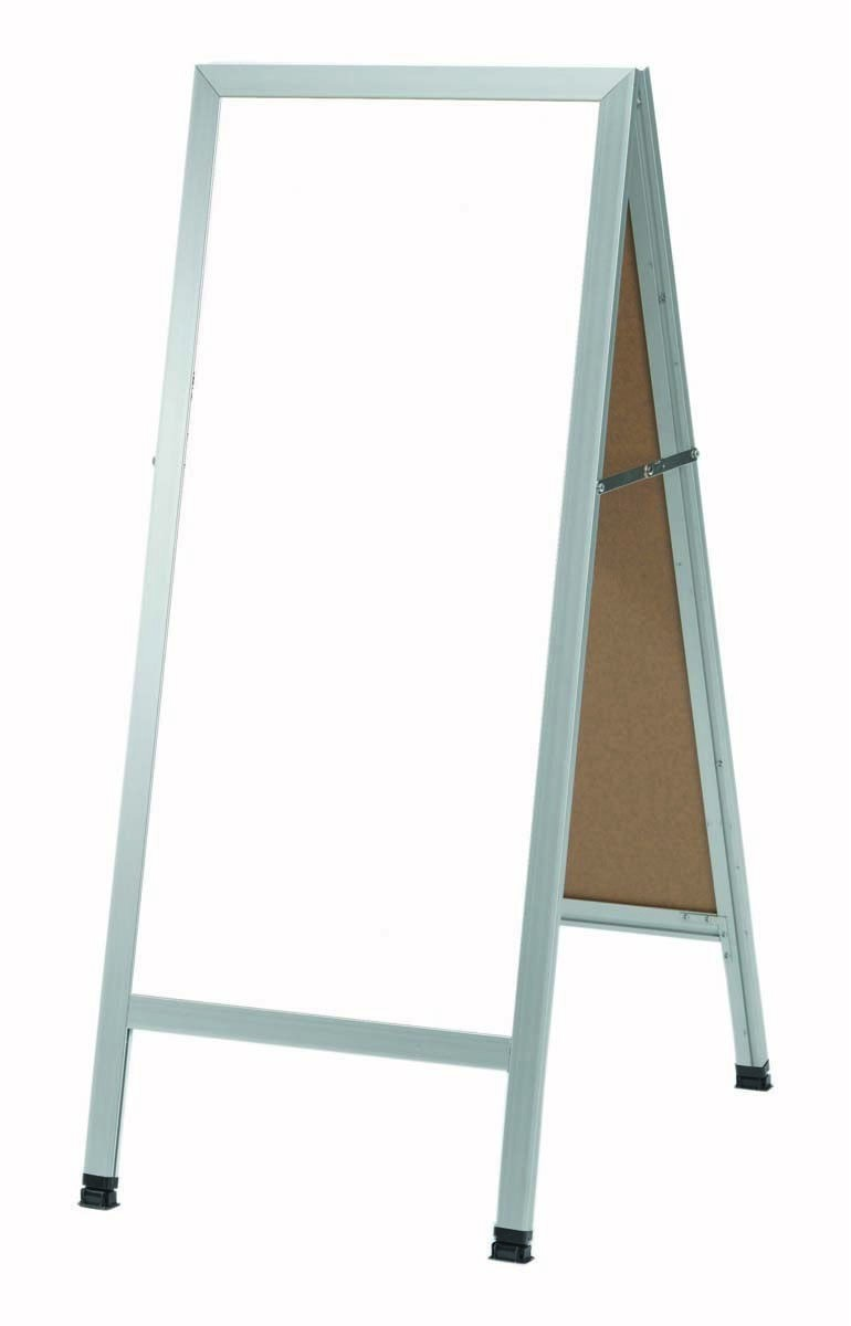 """Aarco Products AA-35 A-Frame Sidewalk White Melamine Markerboard with Aluminum Frame, 42""""H x 18""""W"""