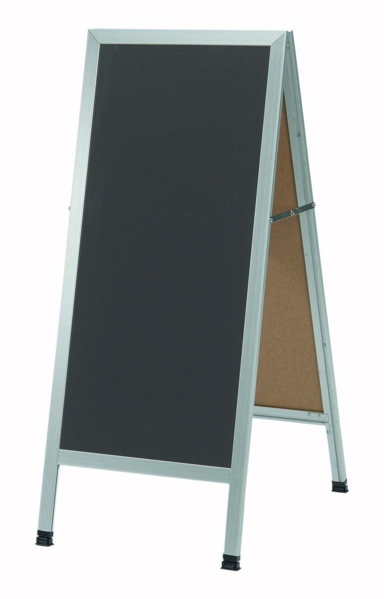 "Aarco Products AA-35SS A-Frame Slate Porcelain Sidewalk Chalkboard with Aluminum Frame, 42""H x 18""W"