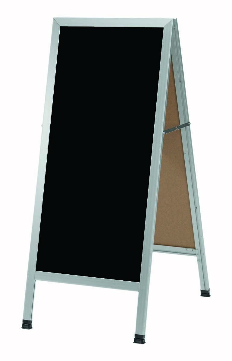 "Aarco Products AA-3B A-Frame Black Composition Sidewalk Chalkboard with Aluminum Frame, 42""H x 18""W"