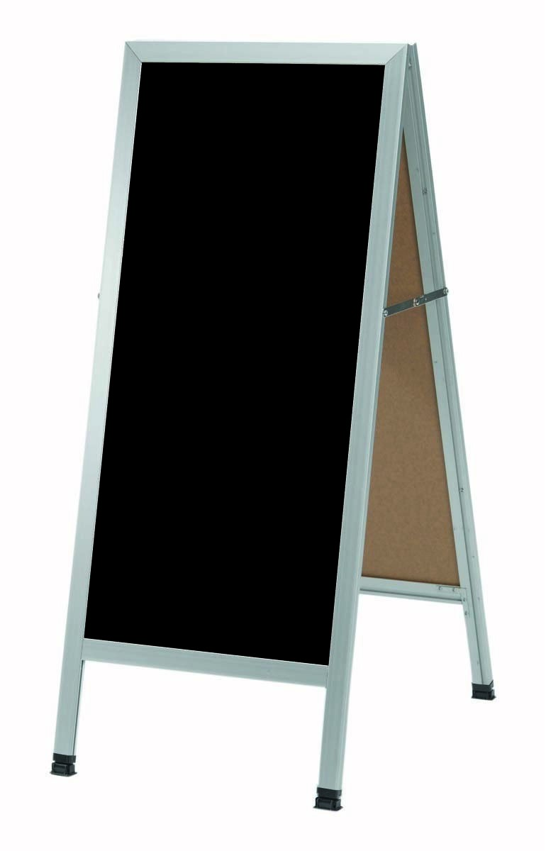 "Aarco Products AA-3BP A-Frame Sidewalk Black Acrylic Board with Aluminum Frame, 42""H x 18""W"
