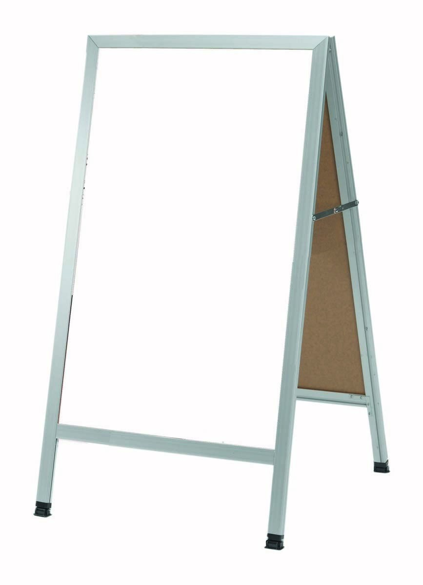 """Aarco Products AA-5 A-Frame Sidewalk White Melamine Markerboard with Aluminum Frame, 42""""H x 24""""W"""
