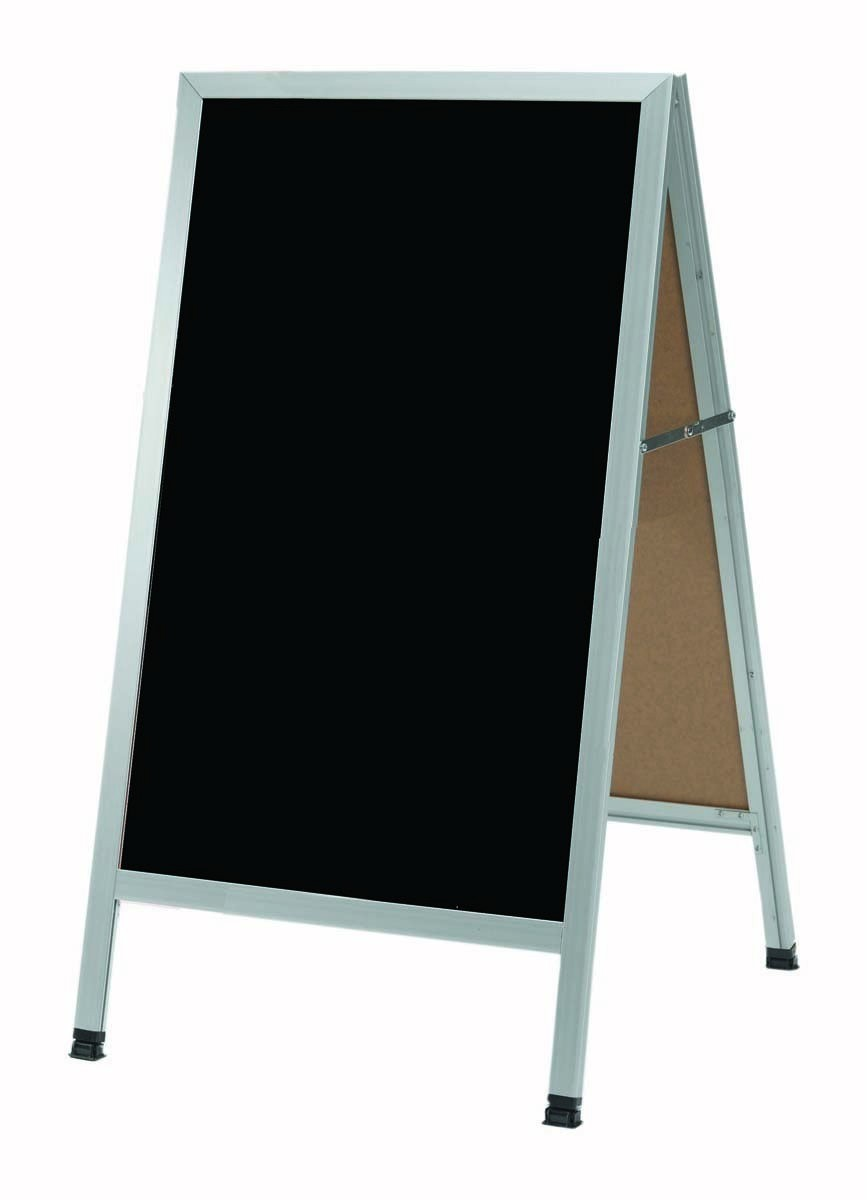 "Aarco Products AA-5SB A-Frame Sidewalk Black Porcelain Markerboard with Aluminum Frame, 42""H x 24""W"