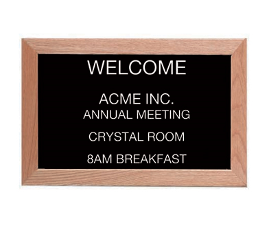 "Aarco Products AOFD1218L Letter Board Message Center with Oak Frame 12""H x 18""W"