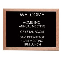 "Aarco Products AOFD1824L Letter Board Message Center with Oak Frame 18""H x 24""W"