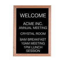 "Aarco Products AOFD2418L Letter Board Message Center with Oak Frame 24""H x 18""W"