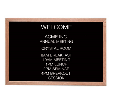 "Aarco Products AOFD2436L Letter Board Message Center with Oak Frame 24""H x 36""W"
