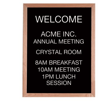 """Aarco Products AOFD3024LLetter Board Message Center with Oak Frame 30""""H x 24""""W"""