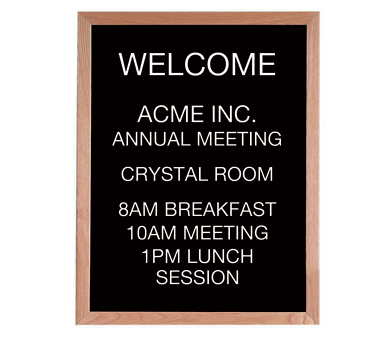 "Aarco Products AOFD3024LLetter Board Message Center with Oak Frame 30""H x 24""W"