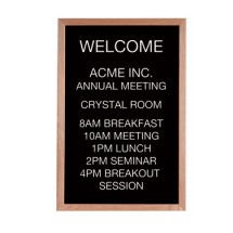 "Aarco Products AOFD3624L Letter Board Message Center with Oak Frame 36""H x 24""W"