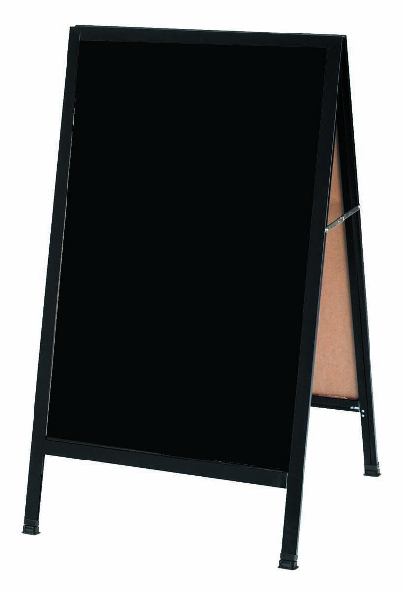 "Aarco Products BA-1B A-Frame Black Composition Sidewalk Chalkboard with Black Aluminum Frame, 42""H x 24""W"