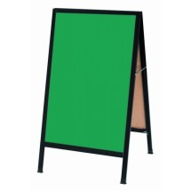 "Aarco Products BA-1G Black Aluminum A-Frame Sidewalk Board with Green Chalkboard, 42""H x 24""W"