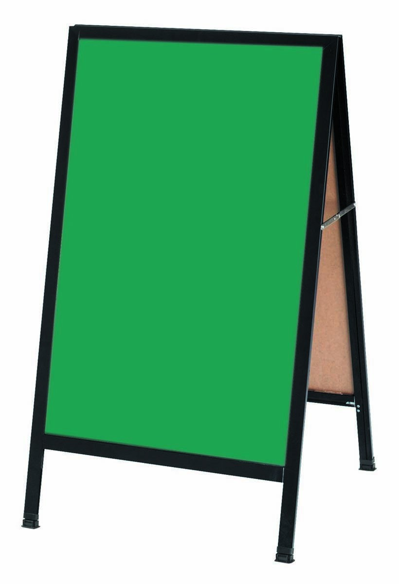 "Aarco Products BA-1G A-Frame Green Composition Sidewalk Chalkboard with Black Aluminum Frame , 42""H x 24""W"