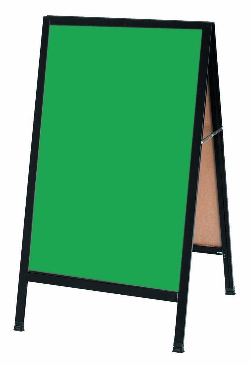 "Aarco Products BA-1SG A-Frame Green Porcelain Sidewalk Chalkboard with Black Aluminum Frame , 42""H x 24""W"