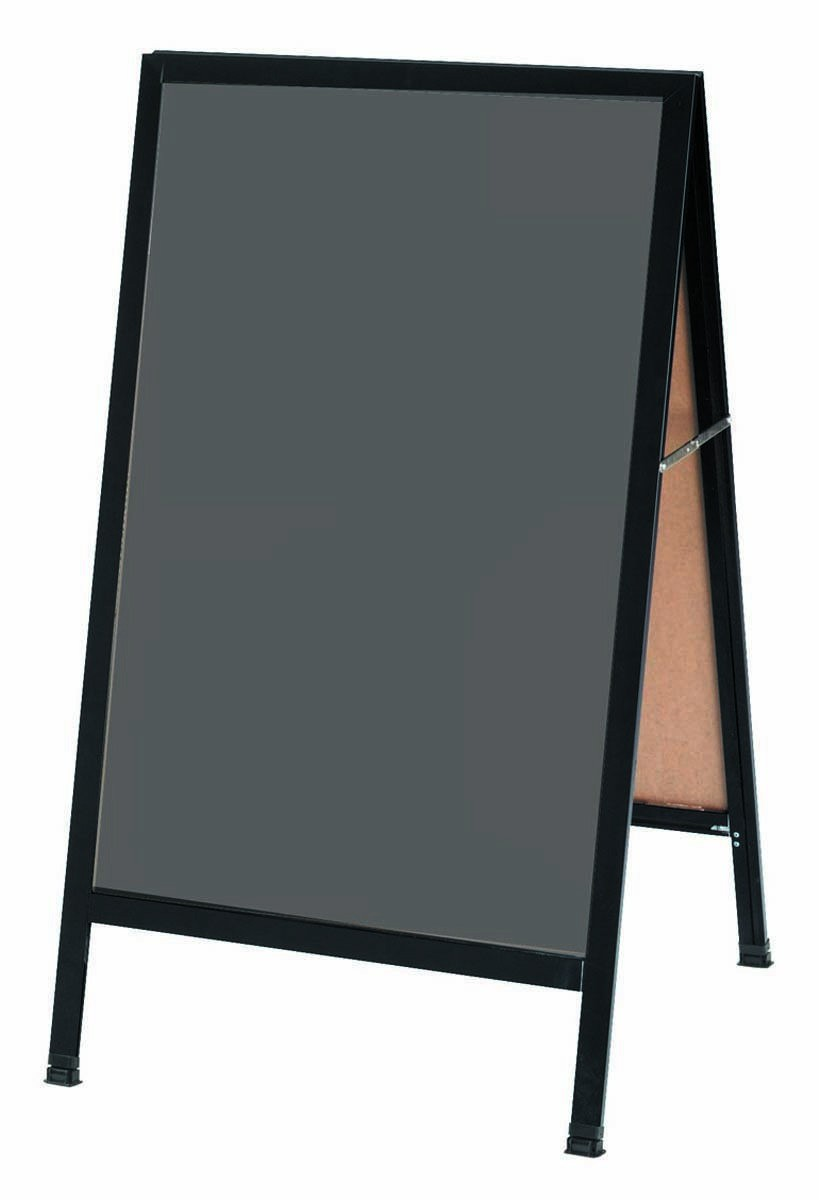 "Aarco Products BA-1SS A-Frame Slate Porcelain Sidewalk  Chalkboard with Black Aluminum Frame, 42""H x 24""W"