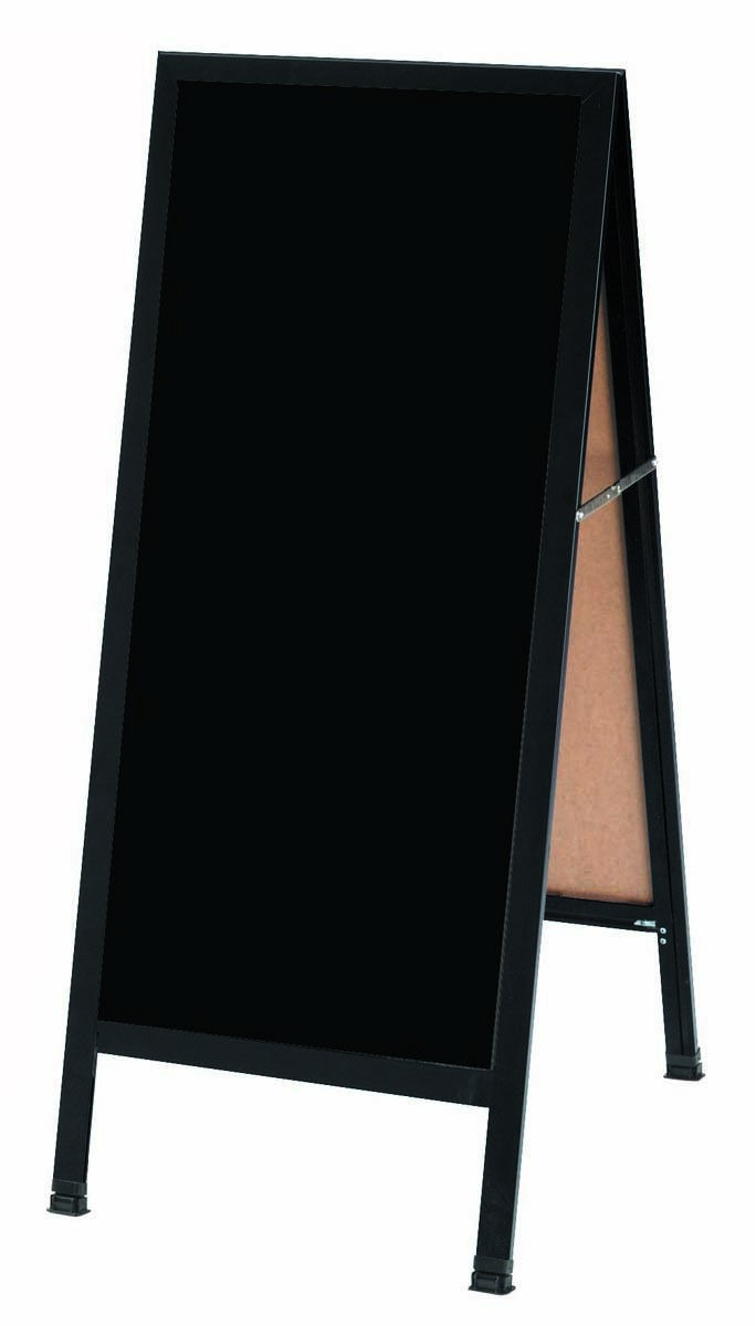 "Aarco Products BA-311 Black Aluminum A-Frame Sidewalk Board with Black Markerboard, 42""H x 18""W"