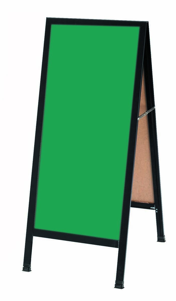 "Aarco Products BA-311SG A-Frame Green Porcelain Sidewalk Chalkboard with Black Aluminum Frame , 42""H x 18""W"