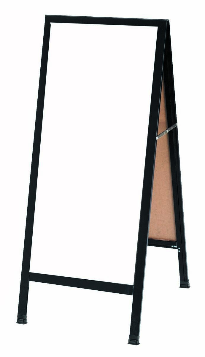 """Aarco Products BA-311SW A-Frame Sidewalk White Porcelain Markerboard with Black Aluminum-Frame, 42""""H x 18""""W"""