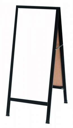 """Aarco Products BA-35 Black Aluminum A-Frame Sidewalk Board with White Markerboard, 42""""H x 18""""W"""