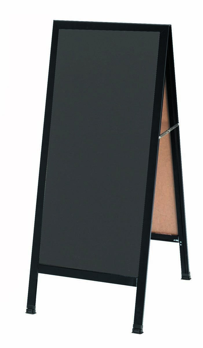 "Aarco Products BA-35SS A-Frame Slate Porcelain Sidewalk Chalkboard with Black Aluminum Frame, 42""H x 18""W"
