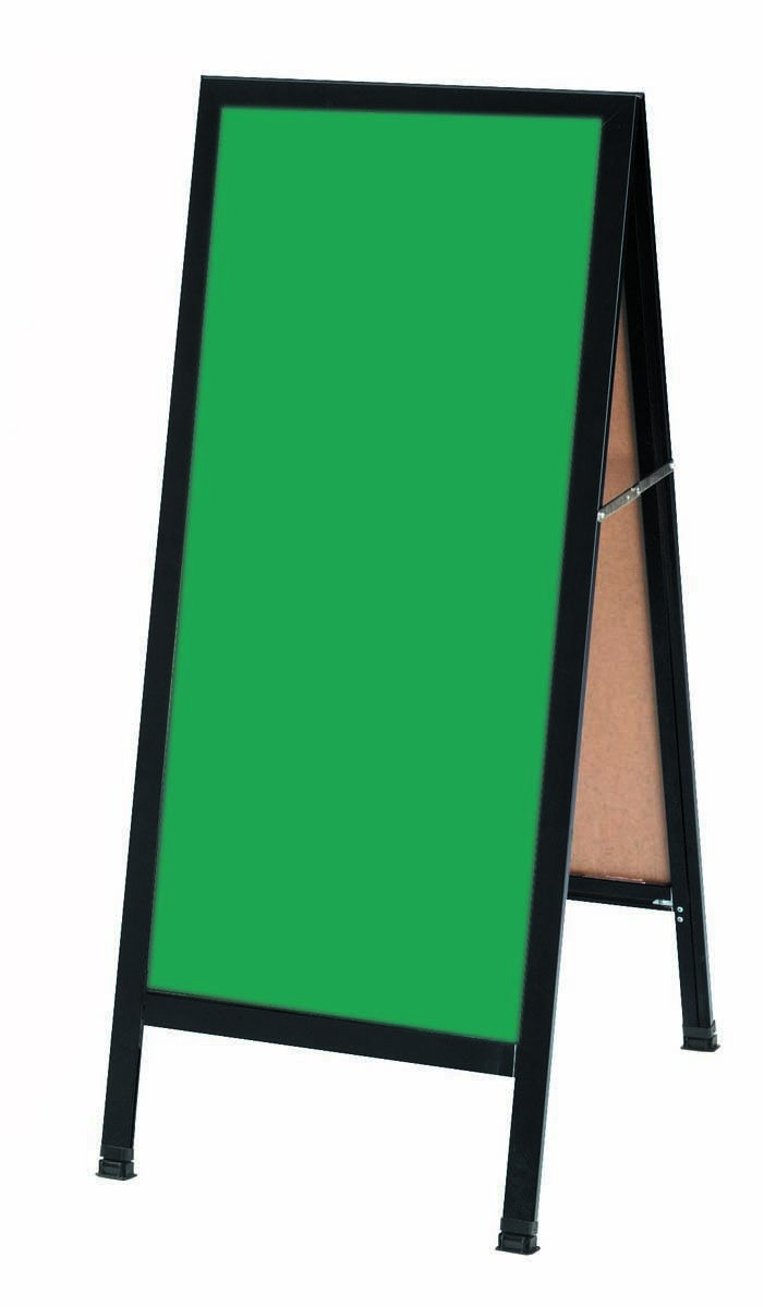 "Aarco Products BA-3G A-Frame Green Composition Sidewalk Chalkboard with Black Aluminum Frame, 42""H x 18""W"