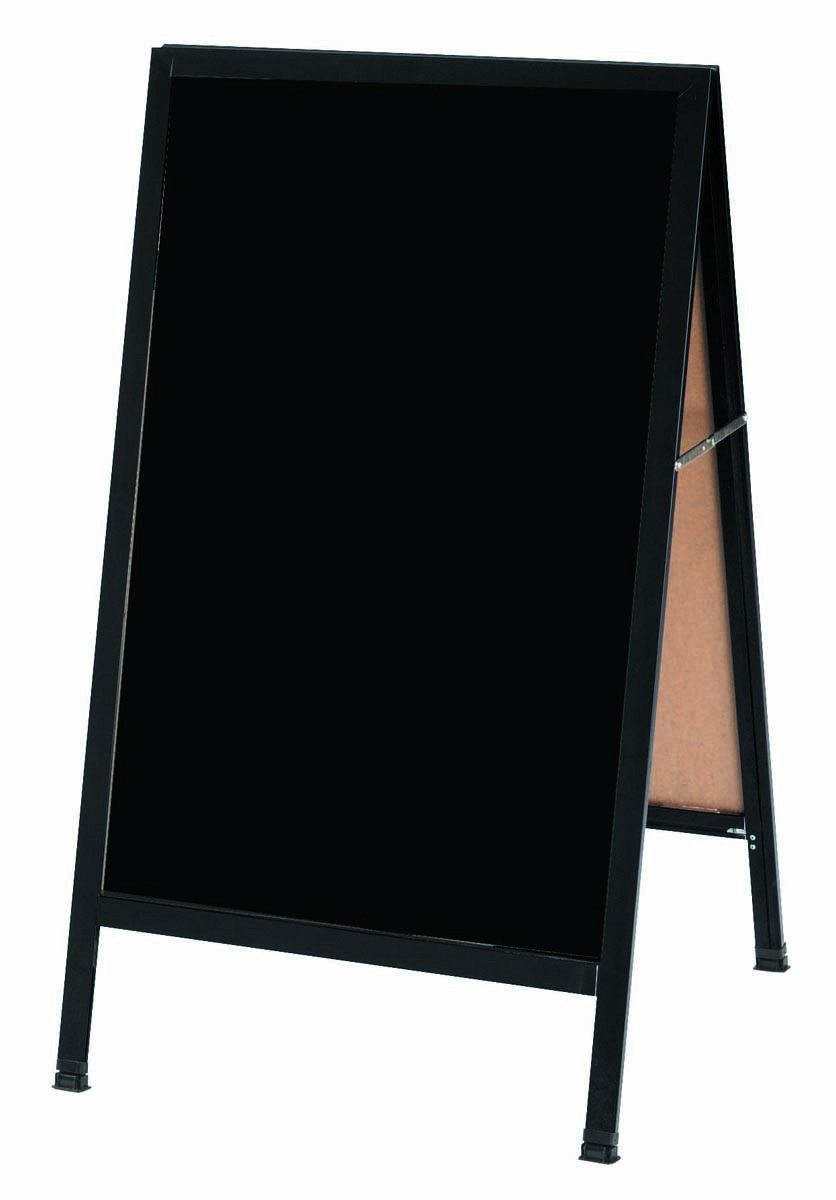 "Aarco Products BA-5SB A-Frame Sidewalk Black Porcelain Markerboard with Black Aluminum Frame, 42""H x 24""W"