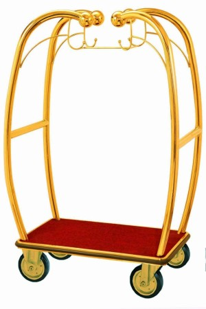 Aarco Products BEL-101B Bellman's Curved Luggage Cart- Brass Finish