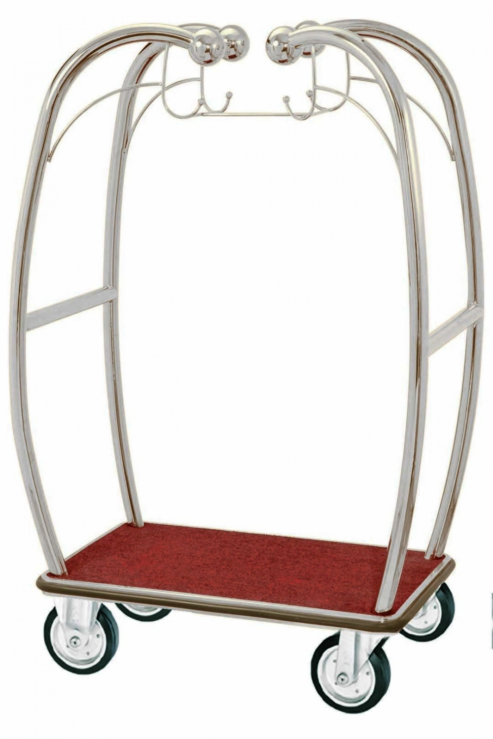 Aarco Products BEL-101C Bellman's Curved Luggage Cart- Chrome Finish