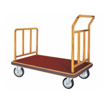 Aarco Products FB-1B Bellman's Hand Truck with Red Carpet Bed- Brass Finish