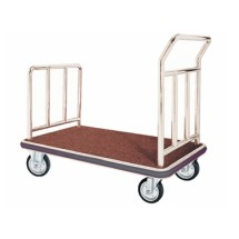 Aarco Products FB-1C Bellman's Hand Truck with Red Carpet Bed- Chrome Finish